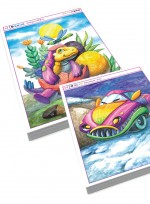 [미술학원 교재] 퍼니카 & 공룡시대 수채화 그림 자료집, 재미있는 자동차 카툰 애니메이션, 귀여운 공룡 캐릭터 일러스트레이션, 로보트 수채화